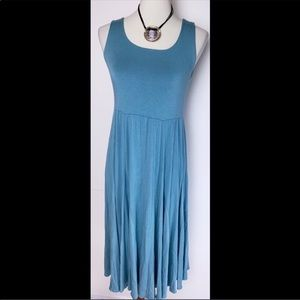 Comfy USA Sleeveless Blue Flowy Midi Dress 0213